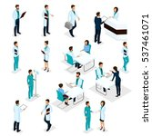 set isometric doctors hospital... | Shutterstock .eps vector #537461071