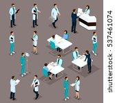 set isometric doctors hospital... | Shutterstock .eps vector #537461074