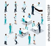 set isometric doctors hospital... | Shutterstock .eps vector #537461389