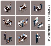 business people isometric set...