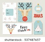 set of cute merry christmas... | Shutterstock . vector #537487657