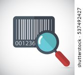 barcode with magnifying glass... | Shutterstock .eps vector #537492427
