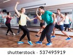 dancing happy couples learning... | Shutterstock . vector #537495919