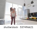 young couple in kitchen  lovers ... | Shutterstock . vector #537496621