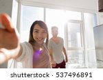 young couple taking selfie... | Shutterstock . vector #537496891