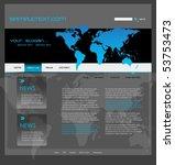website template with world map ... | Shutterstock .eps vector #53753473