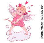 valentine's day. cupid with a... | Shutterstock .eps vector #537539104
