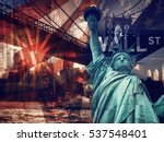 New York City collage including the Statue of Liberty and several other worldwide famous landmarks