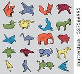 set of different origami animal ... | Shutterstock .eps vector #537566995