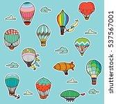 hot air balloons stickers set.... | Shutterstock .eps vector #537567001
