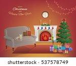 merry christmas room interior... | Shutterstock .eps vector #537578749