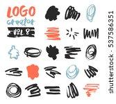 set of 21 unique ink sketched... | Shutterstock .eps vector #537586351