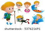 boy doing different activities... | Shutterstock .eps vector #537621691