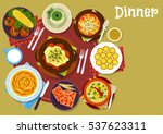 bulgarian cuisine dinner dishes ... | Shutterstock .eps vector #537623311