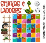 boardgame template with ladders ... | Shutterstock .eps vector #537623581