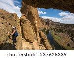 girl rock climbing smith rock... | Shutterstock . vector #537628339