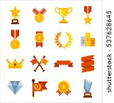 various winning trophies  prize ... | Shutterstock .eps vector #537628645