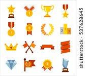 various winning trophies  prize ... | Shutterstock .eps vector #537628645
