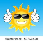smiling sun with glasses in the ... | Shutterstock .eps vector #53763568