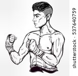 hand drawn boxer fighter ... | Shutterstock .eps vector #537640759