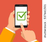 check list button on smartphone ... | Shutterstock .eps vector #537661501