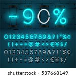 turquoise neon light numbers... | Shutterstock .eps vector #537668149