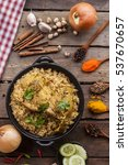 chicken biryani with little... | Shutterstock . vector #537670657