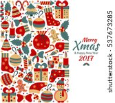 christmas greeting card with... | Shutterstock .eps vector #537673285