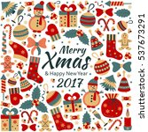 christmas greeting card with... | Shutterstock .eps vector #537673291