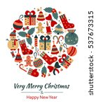 christmas greeting card with... | Shutterstock .eps vector #537673315