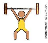 drawing man weight lifter sport ... | Shutterstock .eps vector #537674854