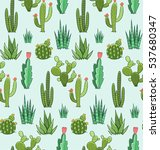 Succulent And Cactus Seamless...