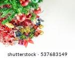 christmas gift on white... | Shutterstock . vector #537683149