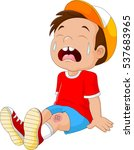 cartoon crying boy with wounded ... | Shutterstock . vector #537683965