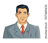 isolated man cartoon with suit... | Shutterstock .eps vector #537684631