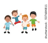 isolated boys cartoons design | Shutterstock .eps vector #537684811