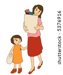 mom and daughter with groceries ... | Shutterstock .eps vector #5376916