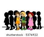 walking preschoolers   vector | Shutterstock .eps vector #5376922