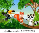 cartoon  forest scene with... | Shutterstock .eps vector #537698239