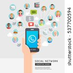 social network conceptual flat... | Shutterstock .eps vector #537700594