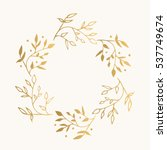 Stock vector gold floral round frame vector isolated 537749674