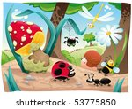 Stock vector insects family on the ground funny cartoon and vector scene objects isolated 53775850