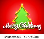 merry christmas red card with... | Shutterstock .eps vector #537760381