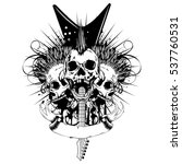 vector illustration skulls with ... | Shutterstock .eps vector #537760531