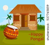 happy pongal celebration with... | Shutterstock .eps vector #537765859