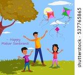 family flying kite for happy... | Shutterstock .eps vector #537765865