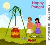 happy pongal celebration with... | Shutterstock .eps vector #537765871