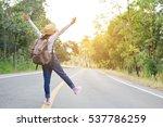 happy asian girl backpack  in... | Shutterstock . vector #537786259