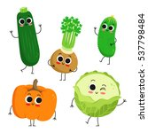 adorable collection of five... | Shutterstock .eps vector #537798484