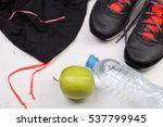 sport flat lay composition with ... | Shutterstock . vector #537799945
